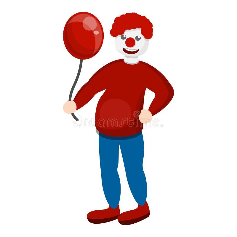 Röd ballongsymbol för clown, tecknad filmstil royaltyfri illustrationer