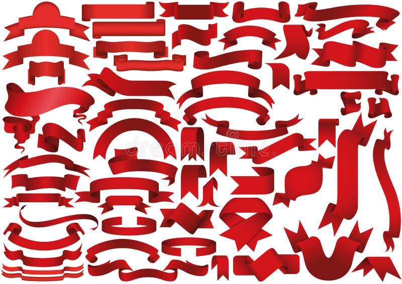 Röd band- eller baneruppsättning stock illustrationer