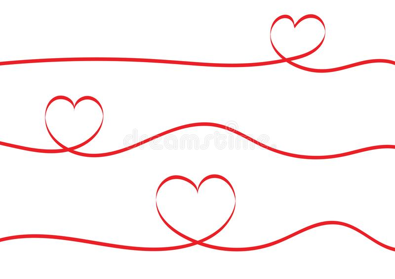 Röd bandhjärta som isoleras på vit bakgrund stock illustrationer