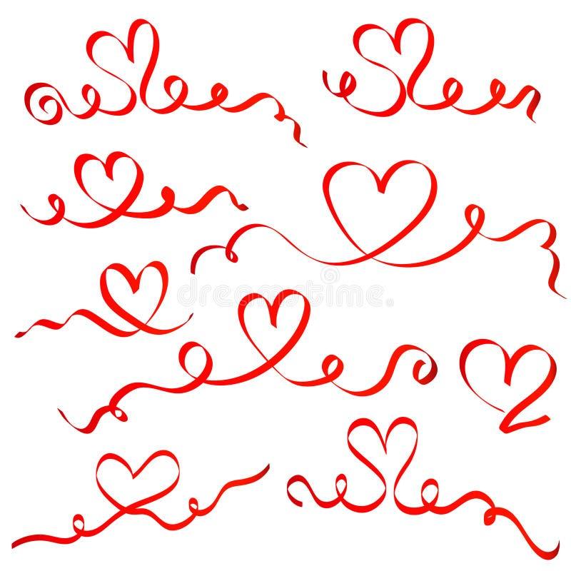 Röd bandhjärtauppsättning royaltyfri illustrationer