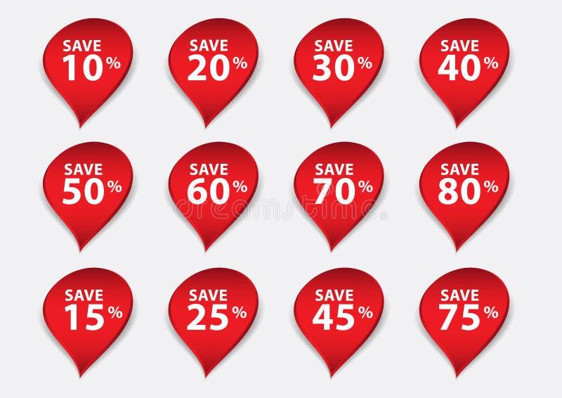 Röd banervektor, Sale banermall, isolerad droppvattenlägenhet, etiketter, klistermärkear, etiketter, rabatt, symbolsvektor stock illustrationer