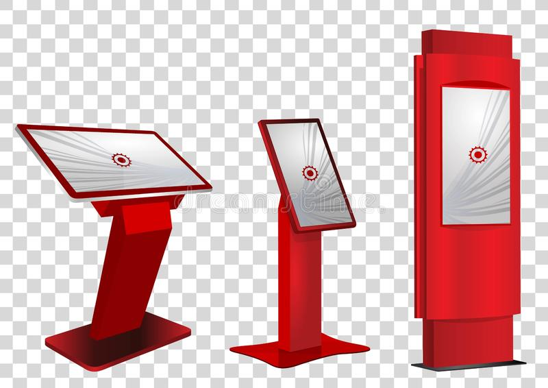 Röd befordrings- växelverkande kiosk för information som tre annonserar skärm, slutlig ställning som isoleras på genomskinlig bak stock illustrationer