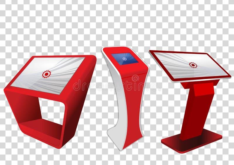Röd befordrings- växelverkande kiosk för information som tre annonserar skärm, slutlig ställning som isoleras på genomskinlig bak royaltyfri illustrationer