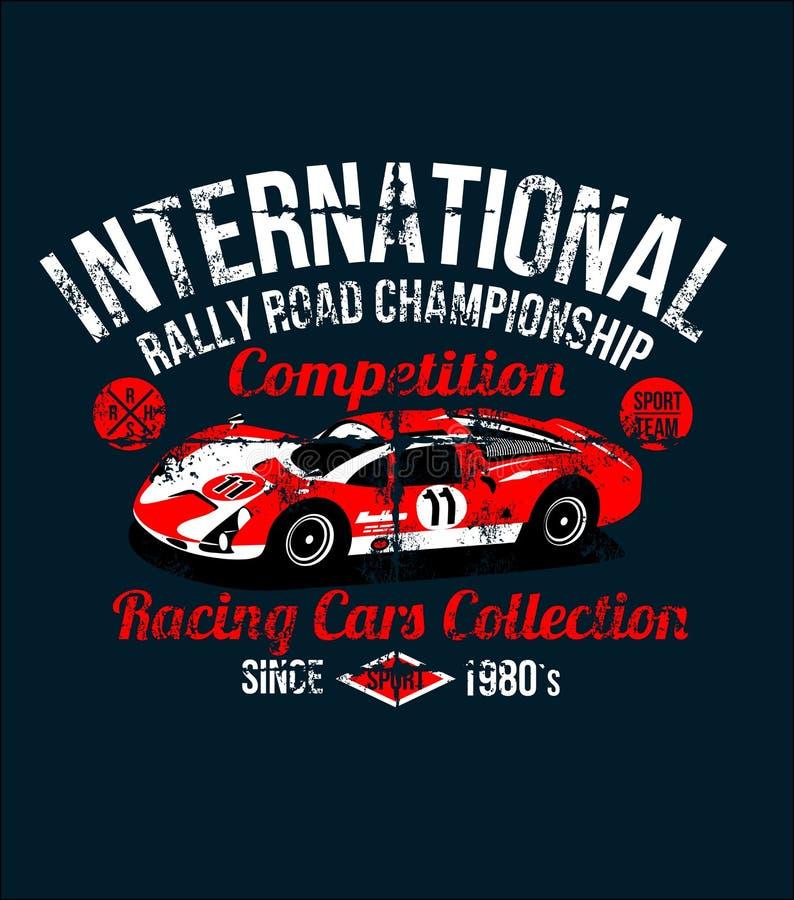 Röd bil för klädertryck på t-skjortor för bil för sport för strömkretscirkellopp klassisk illustration Bilen är ingen har en verk stock illustrationer