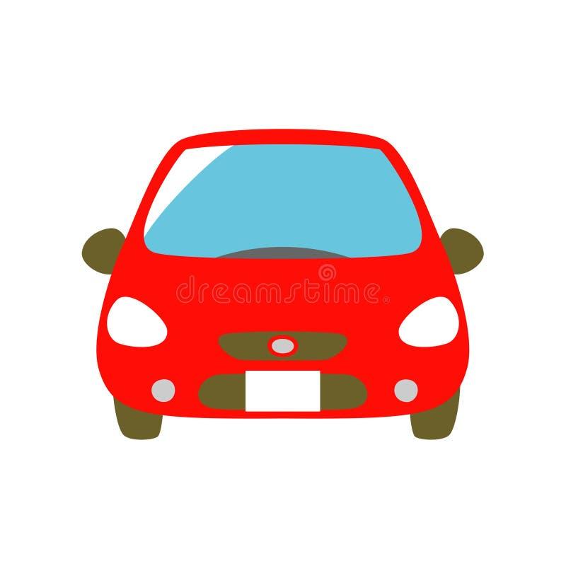 Röd bil, främre sikt vektor illustrationer