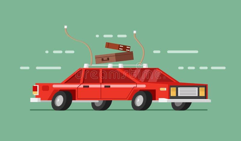 Röd bil i flyttning med royaltyfri illustrationer