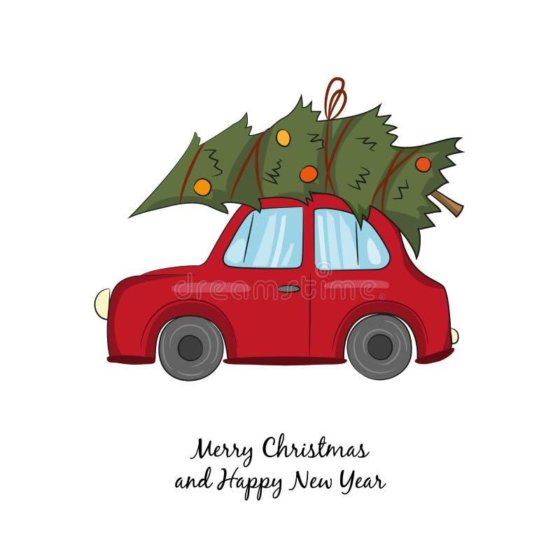 Röd bil med julgranen på den vita bakgrunden stock illustrationer