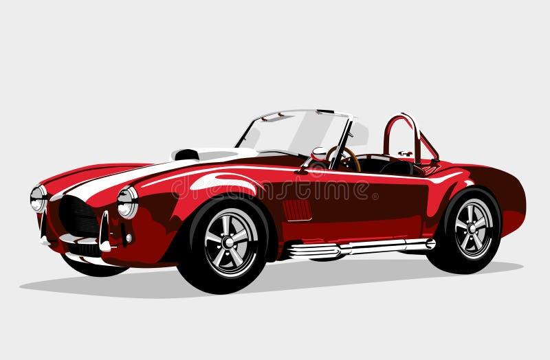 Röd bilAC Shelby Cobra Roadster för klassisk sport stock illustrationer