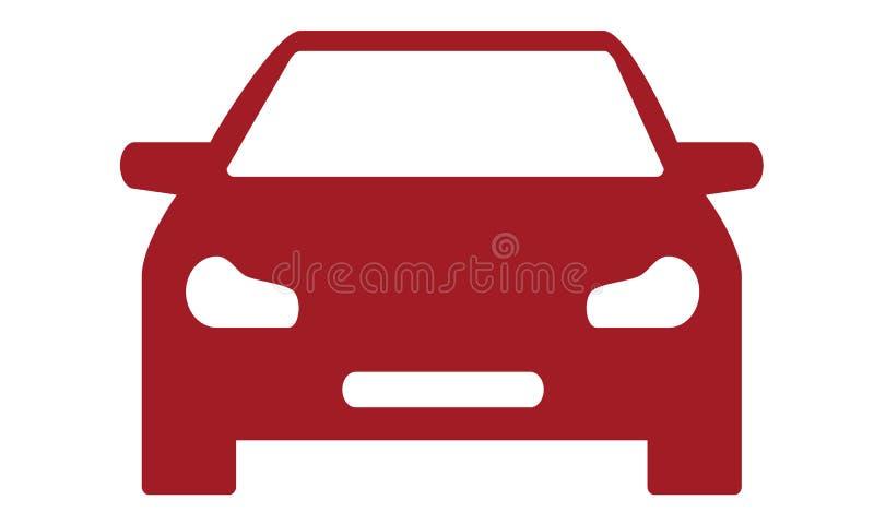 Röd bilframdelsymbol på vit bakgrund royaltyfri illustrationer