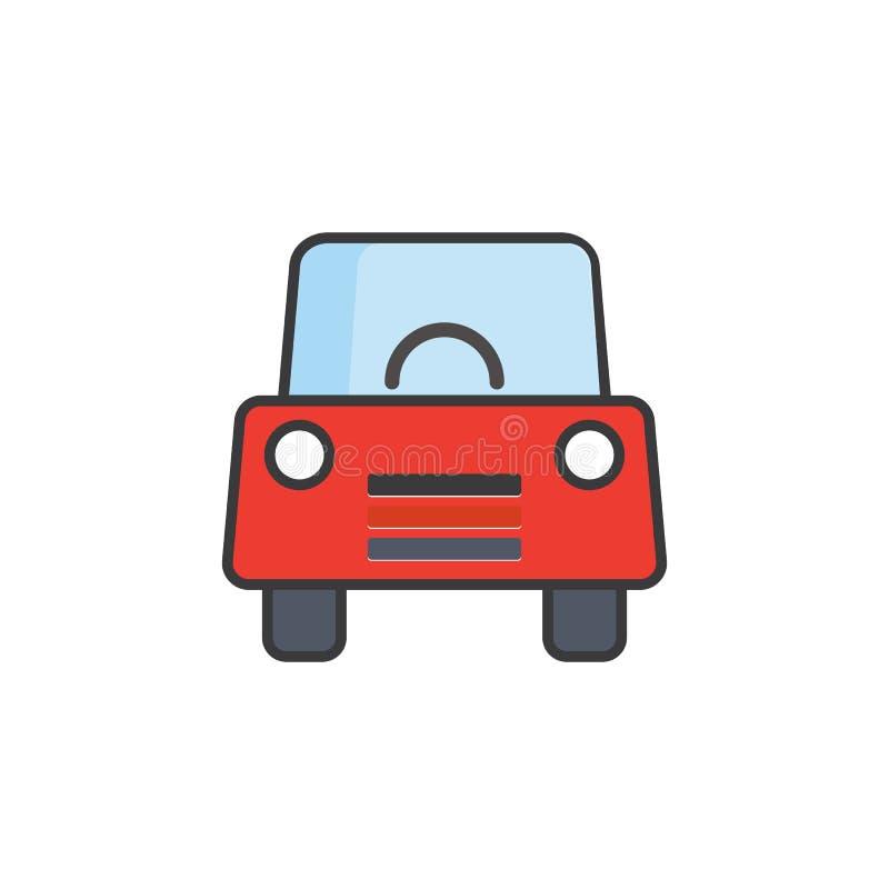 Röd bilsymbol med det blåa fönstret, främre sikt av bilen Röd vektor eps10 för symbol för främre sikt för bil, royaltyfri illustrationer