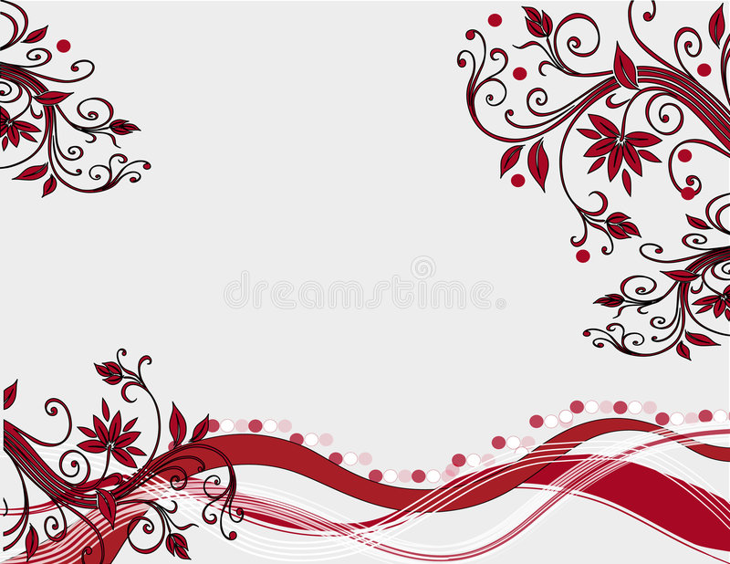 Röd blom- och leavesmodell royaltyfri illustrationer