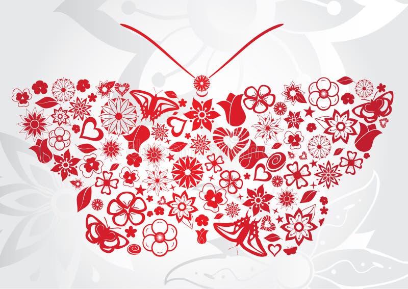 Download Röd blommafjäril vektor illustrationer. Illustration av fjäril - 27284221