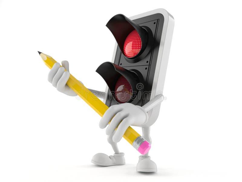 Röd blyertspenna för trafikljusteckeninnehav stock illustrationer