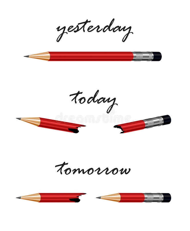 Röd blyertspenna med ord i morgon, i dag och igår royaltyfri illustrationer