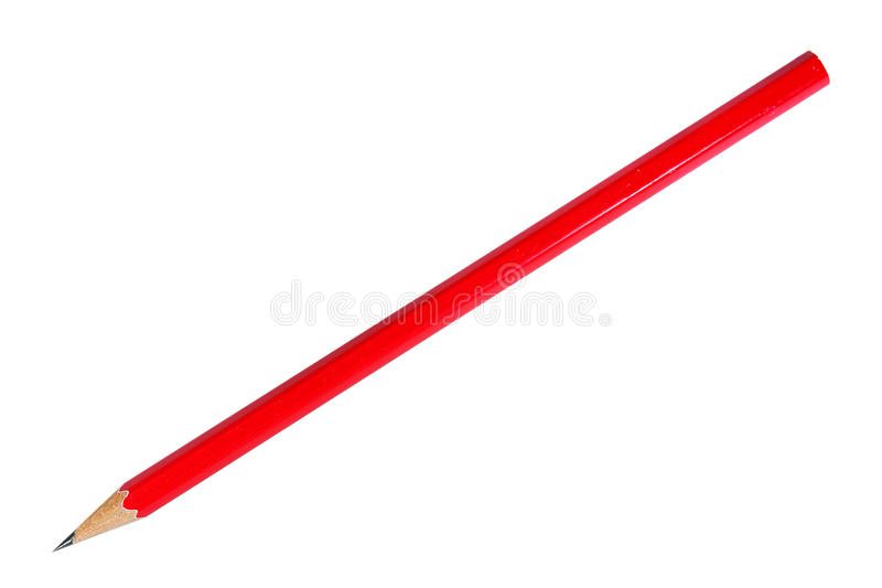 Röd blyertspenna på vit arkivbilder