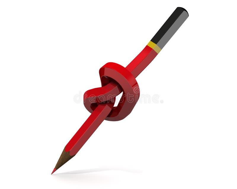 Röd blyertspenna som binds i en fnuren royaltyfri illustrationer