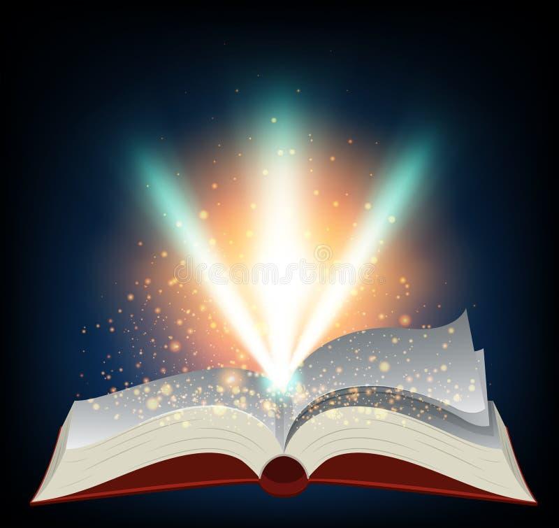 Röd bok med bristning av ljus royaltyfri illustrationer