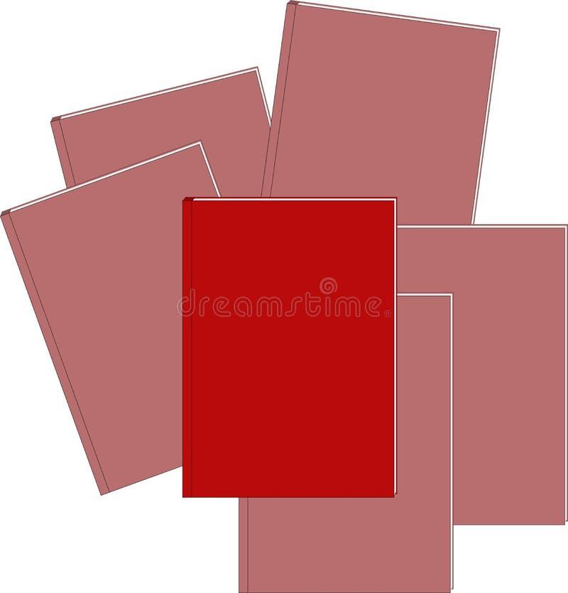 Röd bok och låg mättande för böcker på bakgrunden brigham stock illustrationer