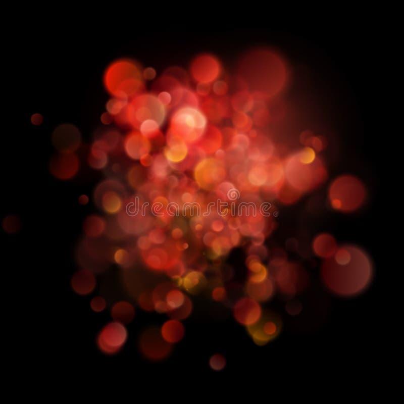 Röd bokeh för abstrakt defocused cirkulär på mörk bakgrund 10 eps stock illustrationer