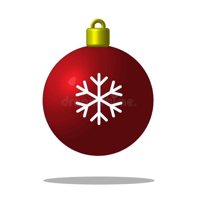 Röd boll för julgran med snöflingan Xmas-leksak redigerbart royaltyfri illustrationer