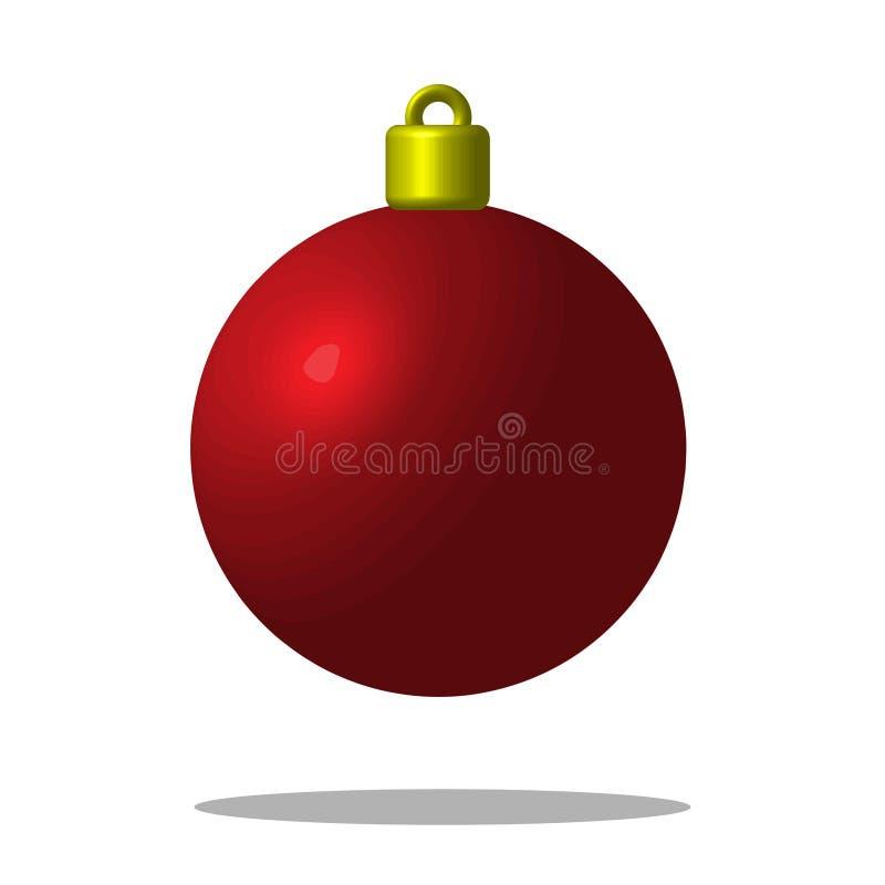 Röd boll för julgran Xmas-leksak redigerbart EPS10 stock illustrationer