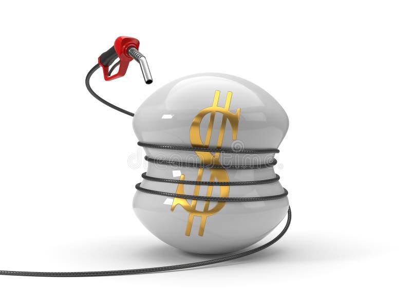 Röd bränsledysa som pressar dollarsymbol illustration 3d royaltyfri illustrationer