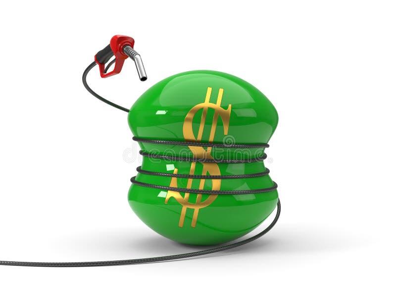 Röd bränsledysa som pressar dollarsymbol illustration 3d vektor illustrationer