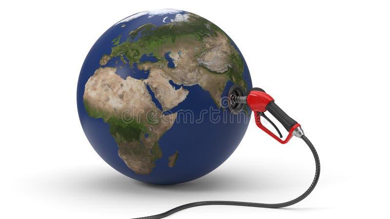 Röd bränsledysa som tankar upp jord illustration 3d royaltyfri illustrationer