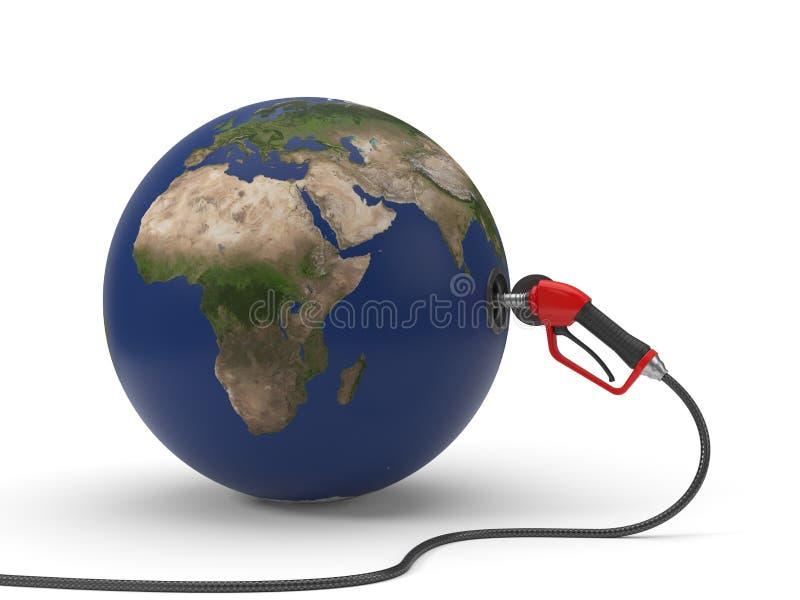 Röd bränsledysa som tankar upp jord illustration 3d stock illustrationer