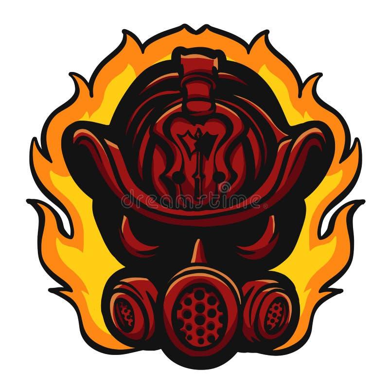 Röd brandmanhjälm i flamma royaltyfri illustrationer