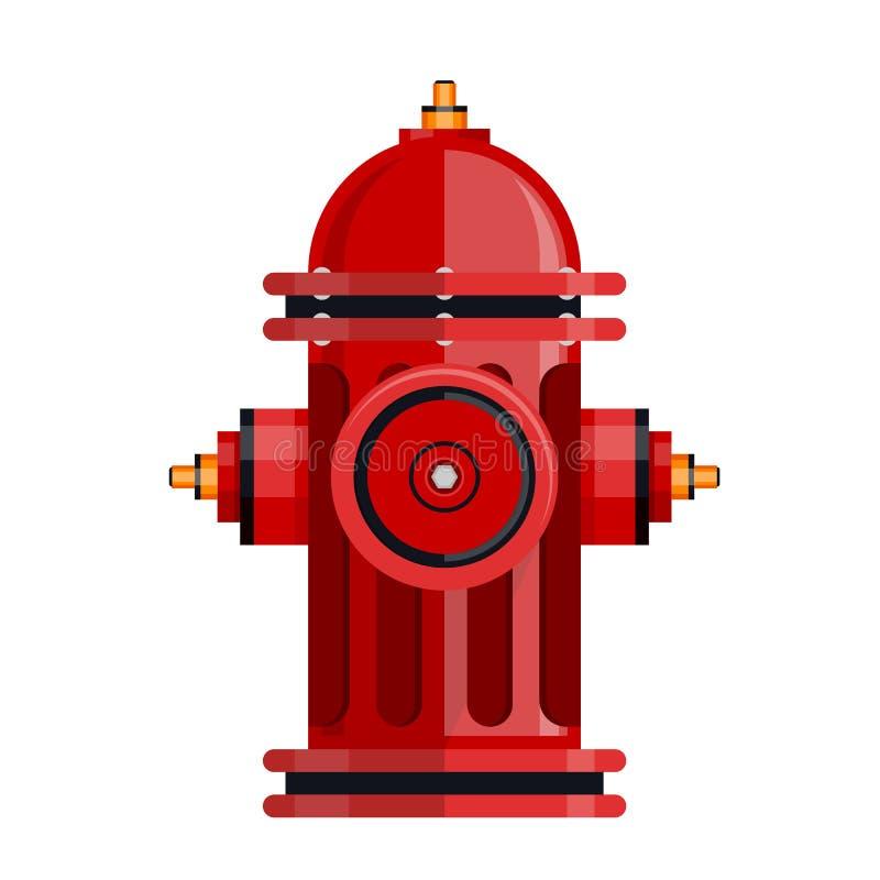 Röd brandpostsymbol som isoleras på den vita vektorn royaltyfri illustrationer