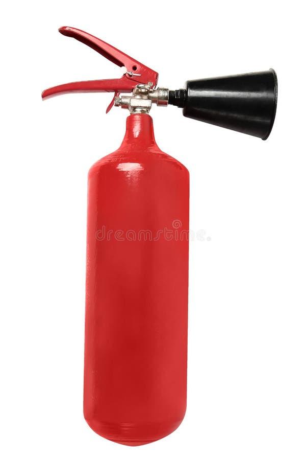Röd brandsläckare som isoleras på vit arkivbild