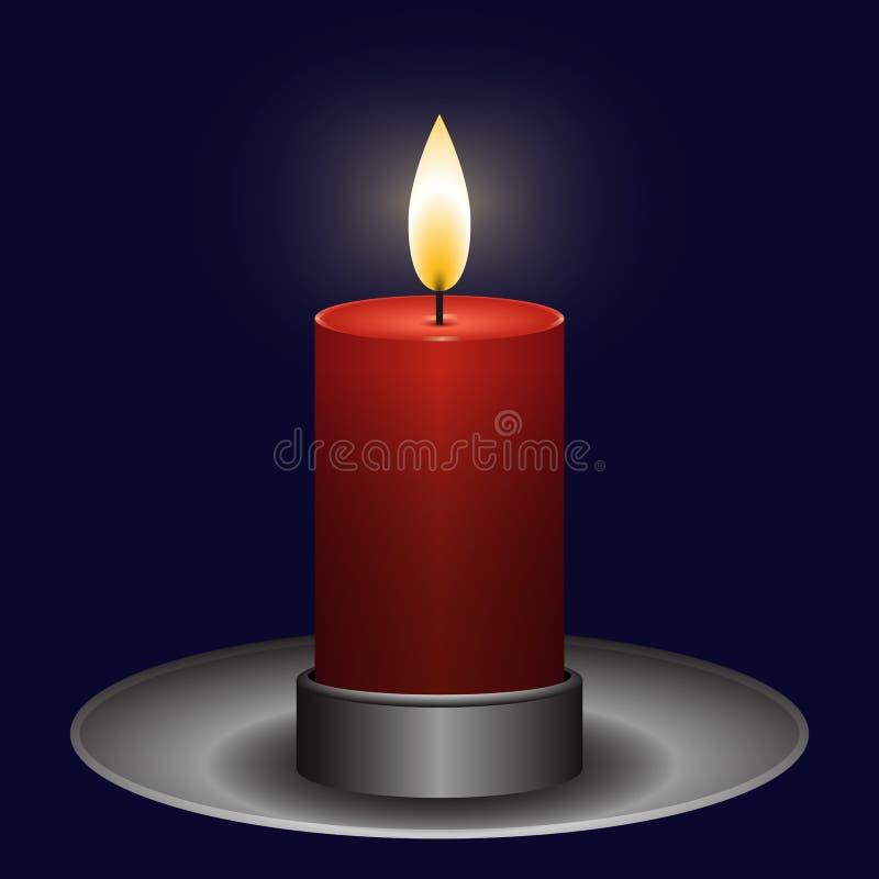 Röd brinnande stearinljus i en metallljusstake på en mörk purpurfärgad bakgrund royaltyfri illustrationer
