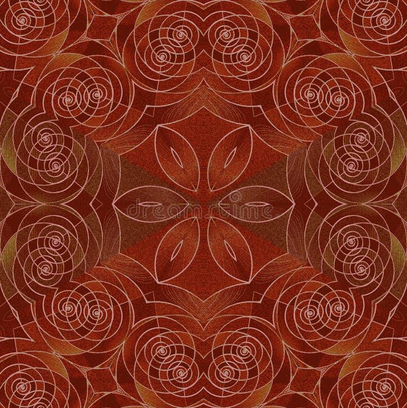 Röd brun panel för spiral prydnad vektor illustrationer