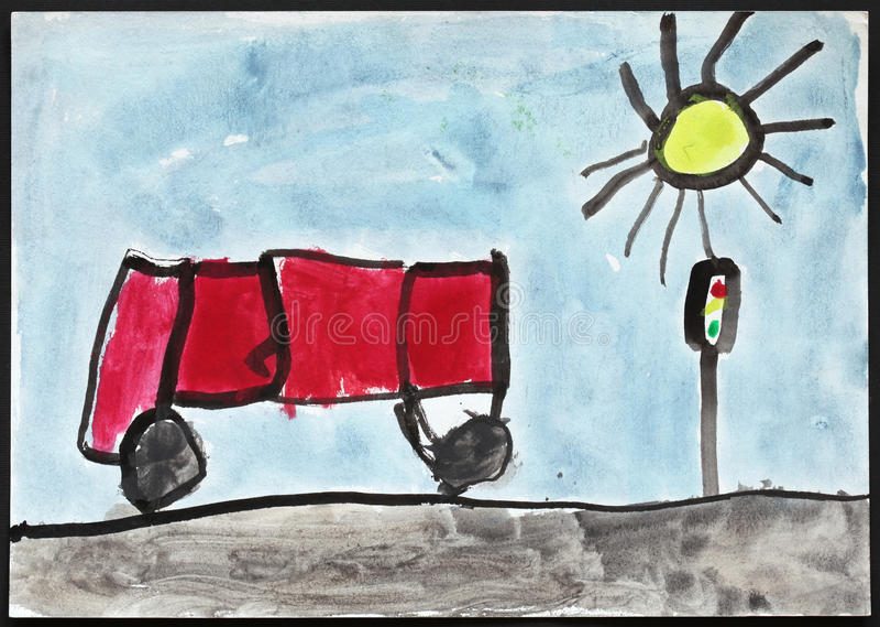 Röd buss och trafikljus - barns teckning stock illustrationer