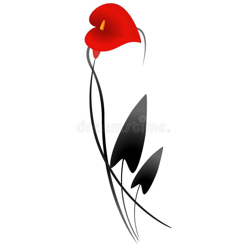 Röd Calla royaltyfri illustrationer