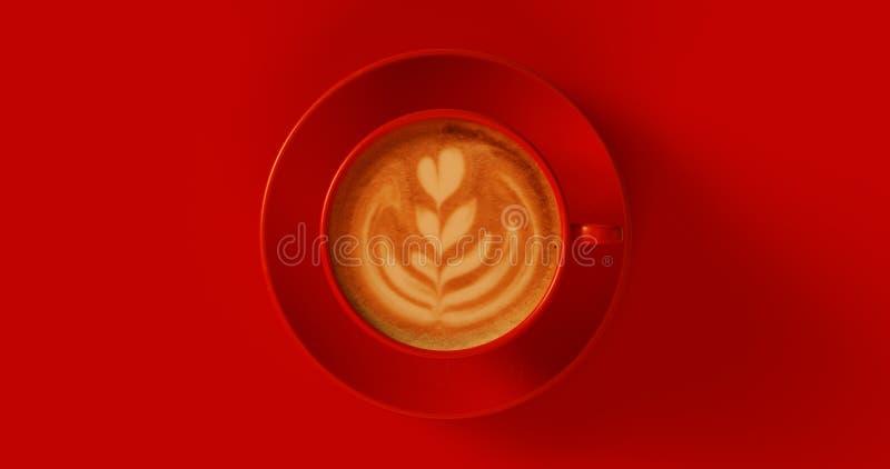 Röd cappuccino för kaffekopp royaltyfria foton