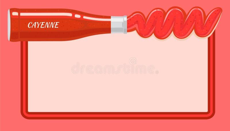 Röd Cayenne sås hällde ut från den liggande flaskan royaltyfri illustrationer