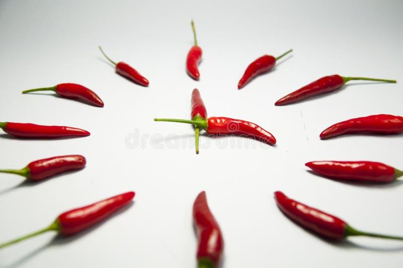 Download Röd chilipeppar tar tid på fotografering för bildbyråer. Bild av peppercorn - 27287953