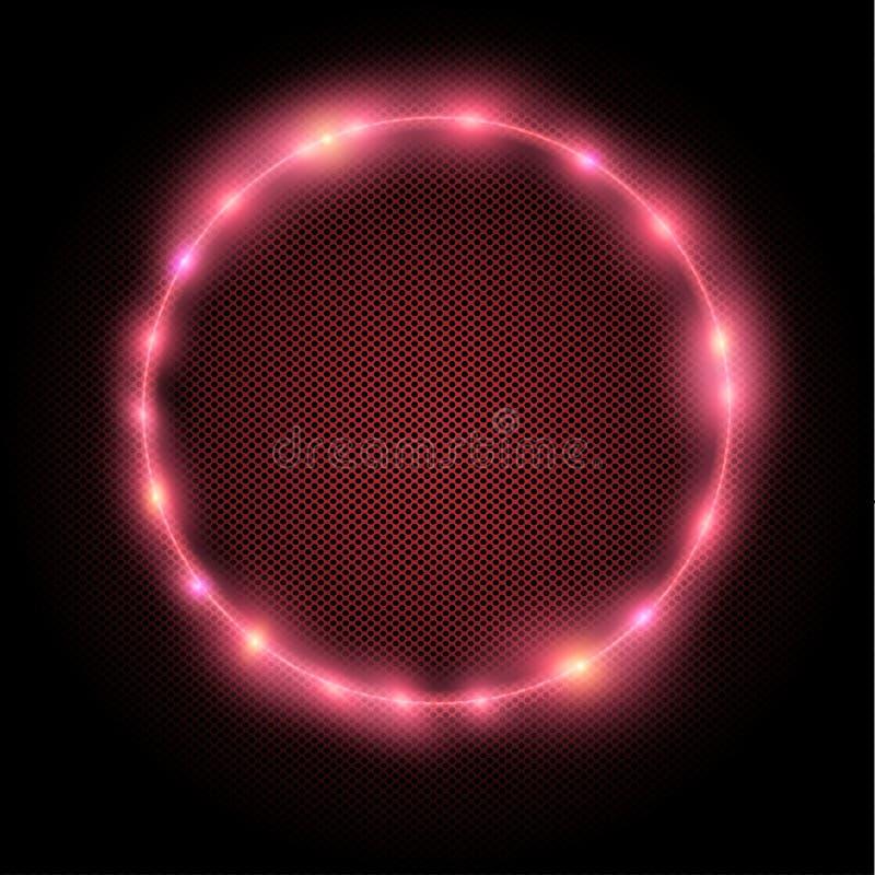 Röd cirkel för neon vektor illustrationer
