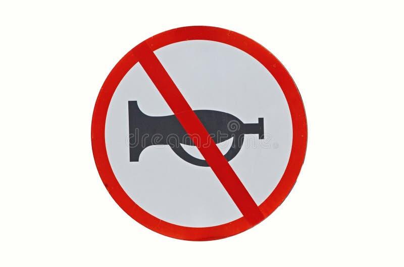 Röd cirkel inget horn- tecken för chaufförer arkivfoton