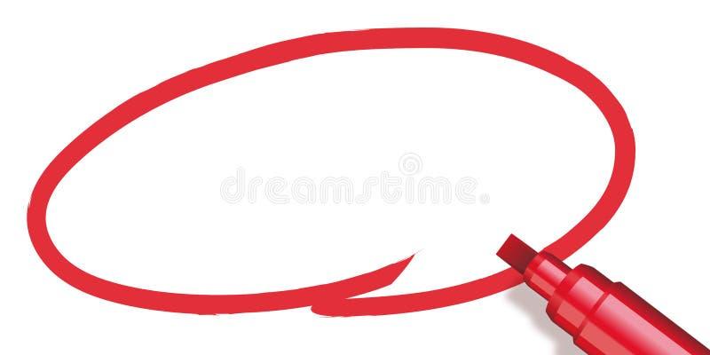 Röd cirkel som göras med en markör royaltyfri illustrationer