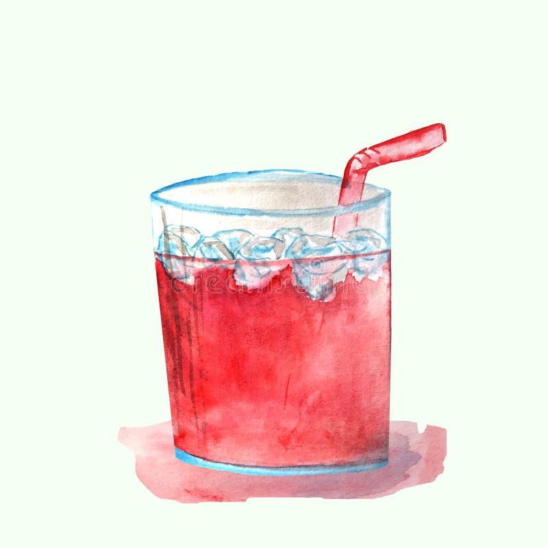 Röd coctail i ett exponeringsglas med is royaltyfri illustrationer