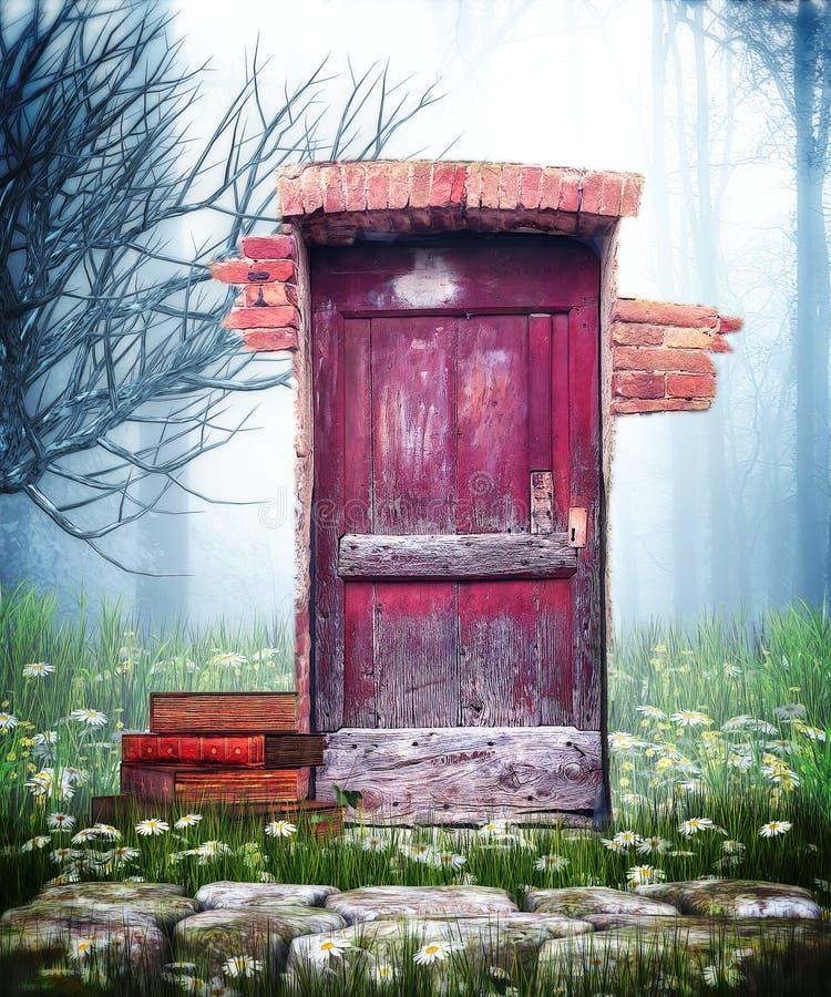 Röd dörr för fantasi royaltyfri illustrationer
