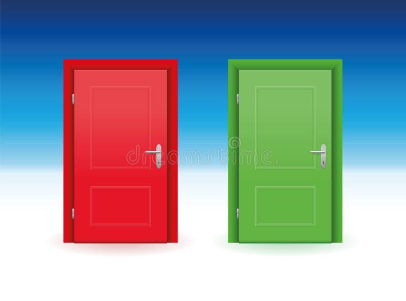 Röd dörrgräsplandörr stock illustrationer