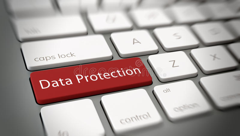Röd dataskyddstangent på ett bärbar datortangentbord stock illustrationer
