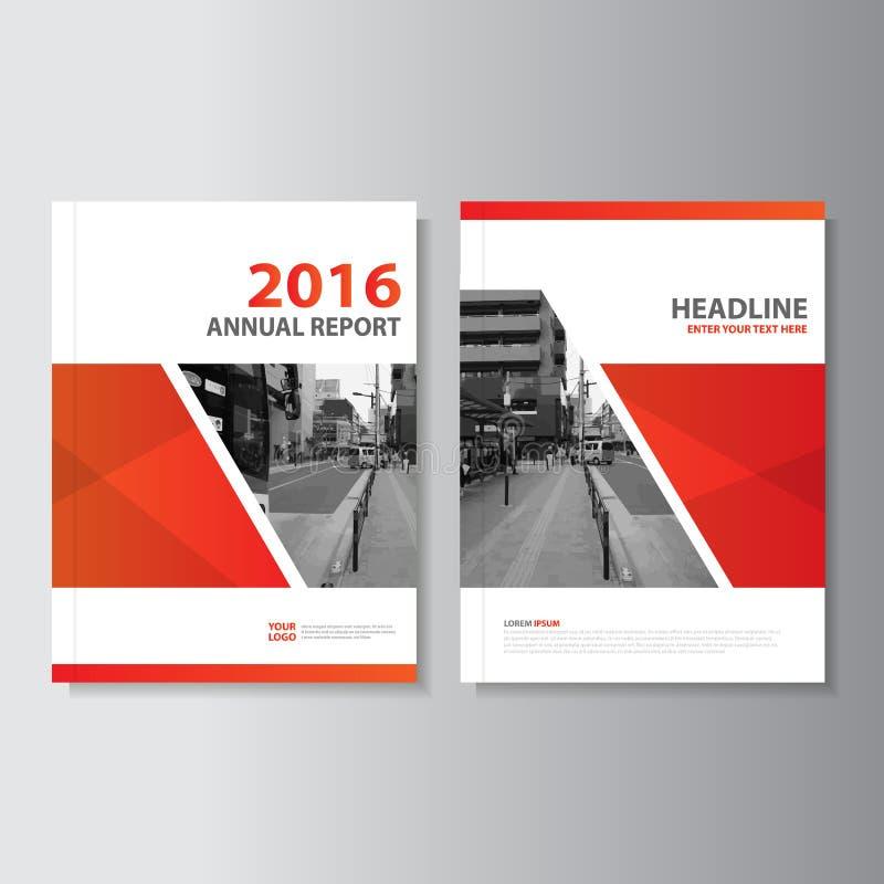 Röd design för mall för reklamblad för broschyr för broschyr för vektorårsrapporttidskrift, bokomslagorienteringsdesign vektor illustrationer