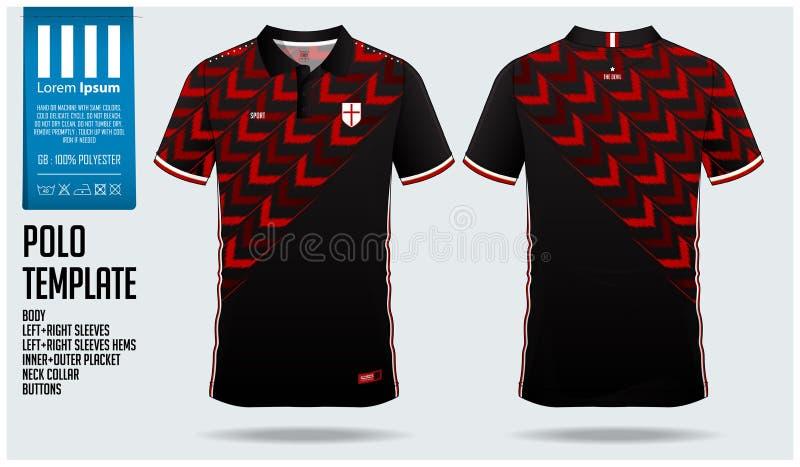 Röd design för mall för sport för pilpoloskjorta för fotbollärmlös tröja, fotbollsats eller sportwear Enhetlig främst sikt för sp royaltyfri illustrationer