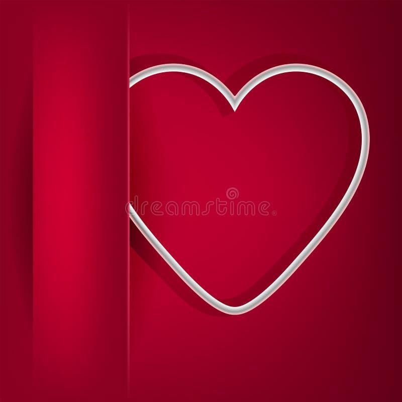 Röd design med ett fack på det vänstert och en kontur av hjärtan stock illustrationer