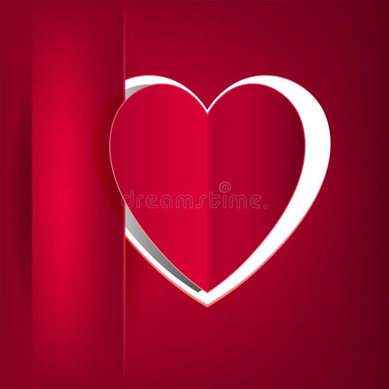 Röd design med ett fack på det vänstert och en kontur av ett hjärtasnitt från papper stock illustrationer
